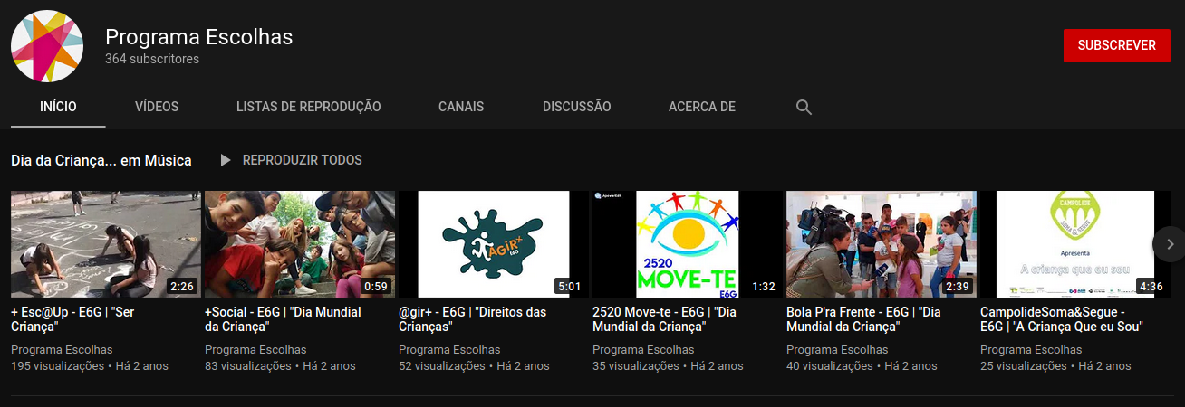 Canal You Tube do Escolhas